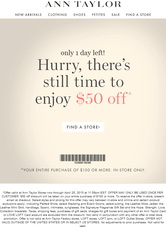 Ann Taylor Coupon December 2016 $50 off $100 today at Ann Taylor