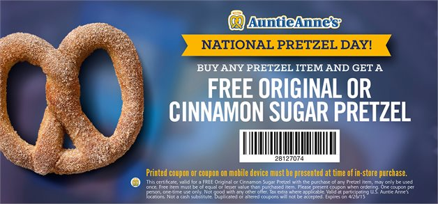 Auntie Annes Coupon August 2018 Second pretzel free at Auntie Annes