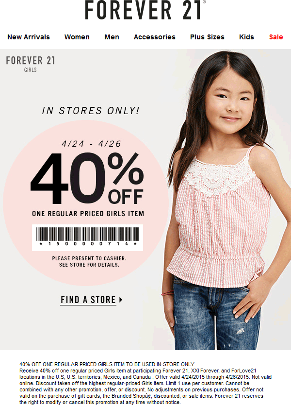 Forever 21 Coupon April 2017 40% off a single girls item at Forever 21
