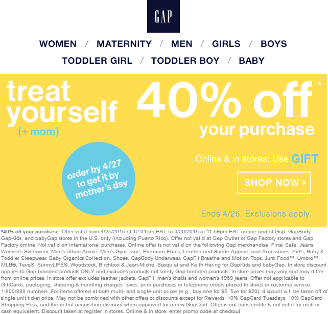 Gap Coupon August 2017 40% off at Gap, or online via promo code GIFT