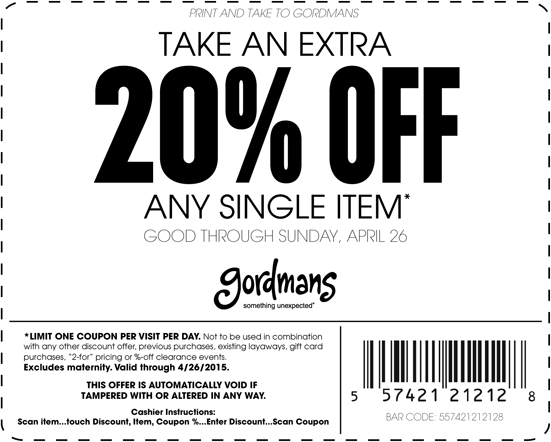 Gordmans Coupon September 2018 20% off a single item this weekend at Gordmans