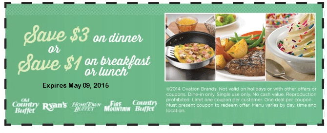 Old Country Buffet Coupon May 2018 $3 off dinner & more at Ryans, Hometown Buffet, Fire Mountain & Old Country Buffet