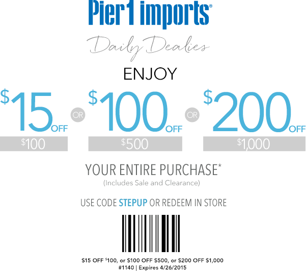 Pier 1 Coupon September 2018 $15 off $100 & more at Pier 1 Imports, or online via promo code SETUP