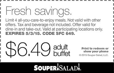 Souper Salad Coupon January 2017 $6.49 buffet at Souper Salad restaurants