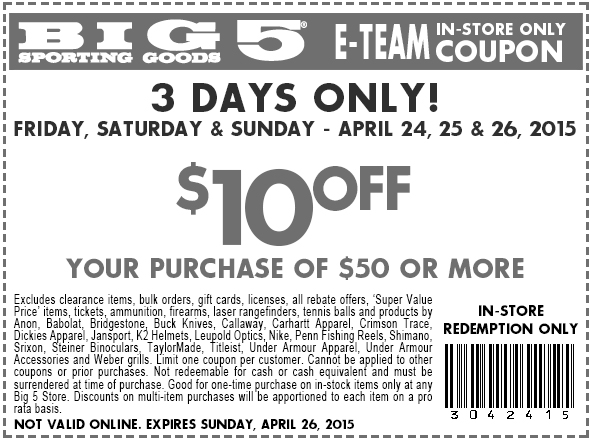 Big 5 Coupon August 2018 $10 off $50 today at Big 5 sporting goods