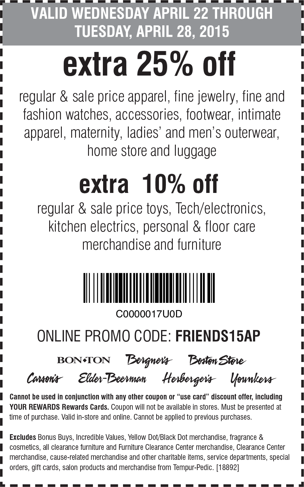 Bon Ton Coupon December 2016 Extra 25% off at Carsons, Bon Ton & sister stores, or online via promo code FRIENDS15AP