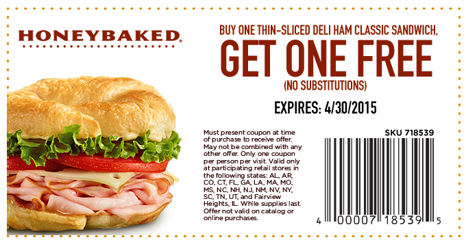 HoneyBaked Coupon March 2017 Second deli ham sandwich free at Honeybaked Ham