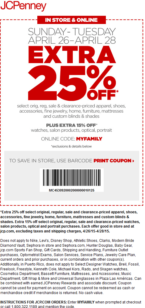 JCPenney Coupon April 2017 Extra 25% off at JCPenney, or online via promo code MYFAMILY