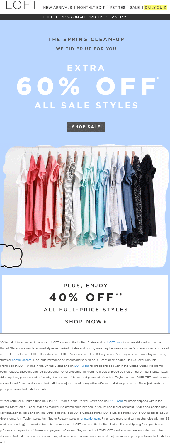 LOFT Coupon April 2017 Extra 60% off sale, 40% off regular at LOFT, ditto online