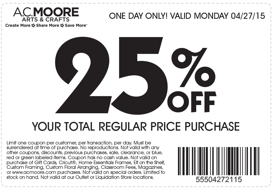 A.C. Moore Coupon March 2019 25% off everything today at A.C. Moore