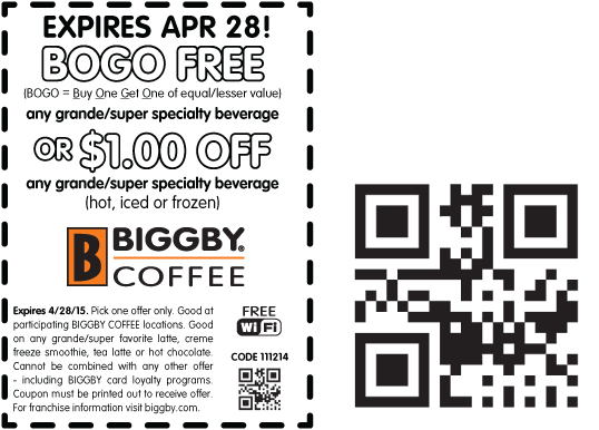 Bigby Coffee Coupon August 2017 Second coffee free at Bigby Coffee