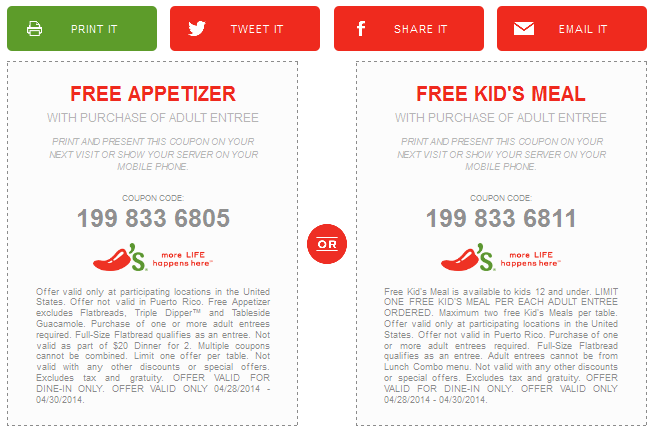 Chilis Coupon March 2018 Free appetizer or kids meal with your entree at Chilis