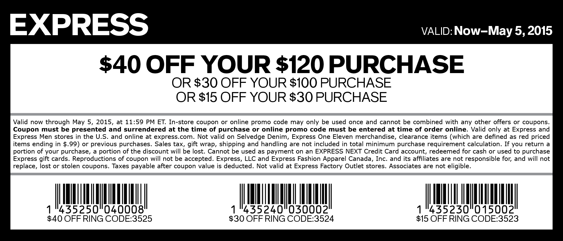 Express Coupon May 2017 $15 off $30 & more at Express, or online via promo code 3520