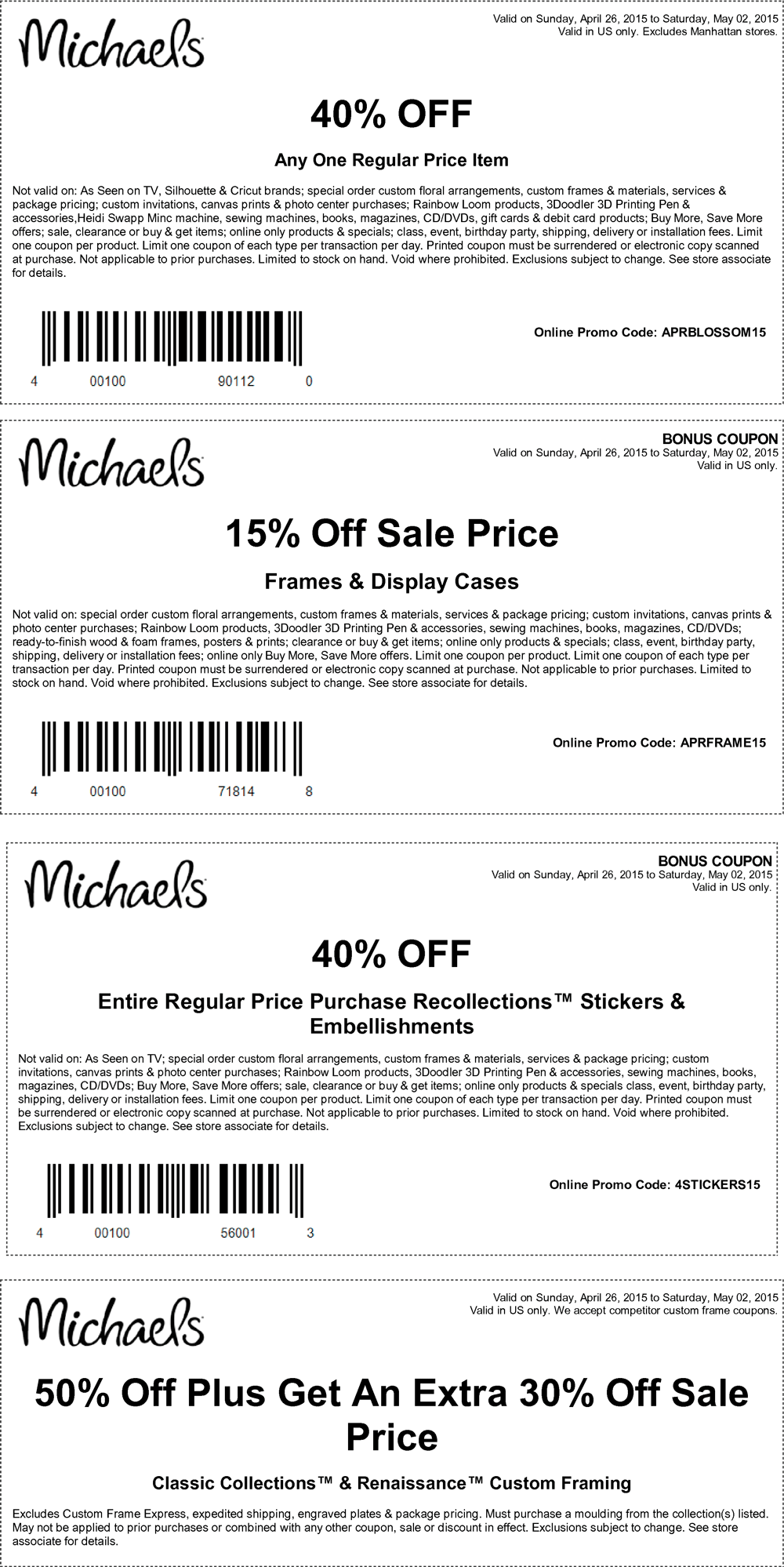 Michaels Coupon October 2016 40% off a single item & more at Michaels, or online via promo code APRBLOSSOM15