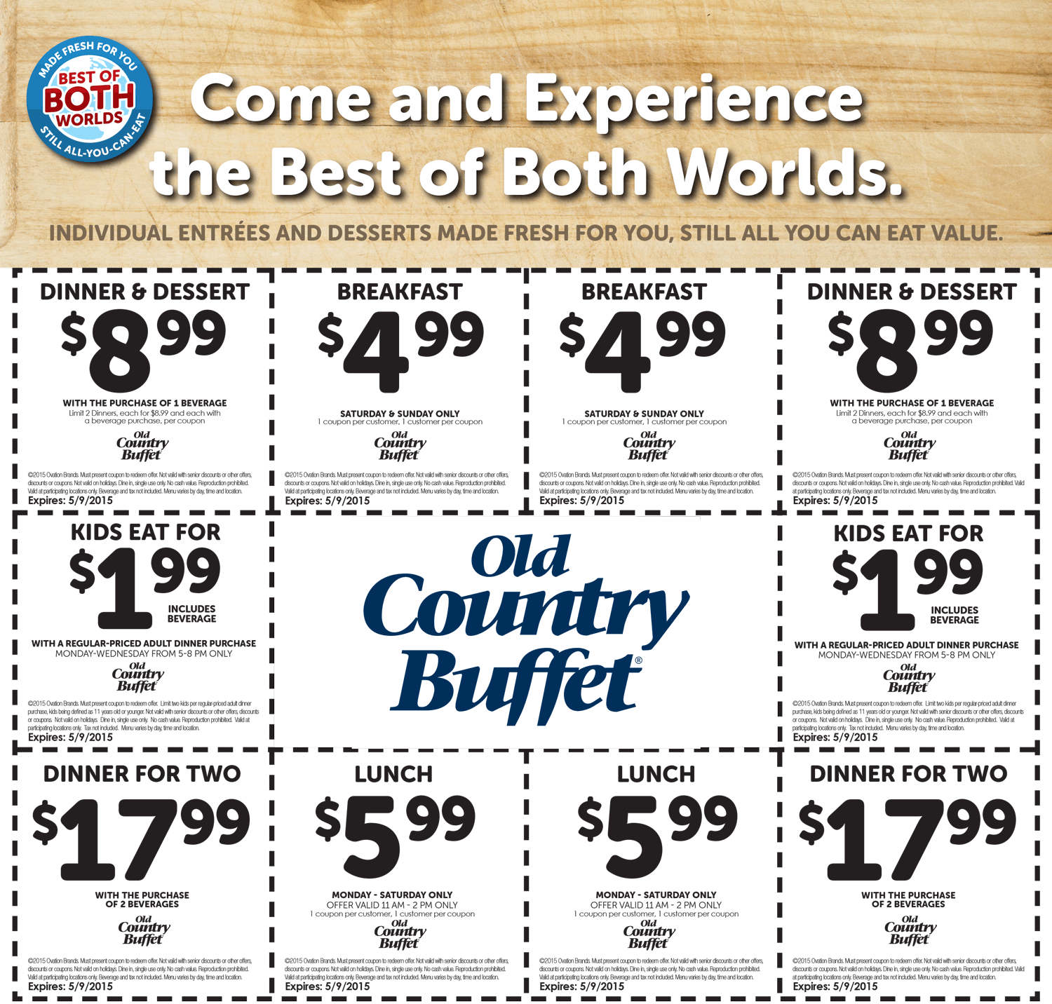 photo about Hometown Buffet Coupons Printable named Previous Nation Buffet Coupon codes - $2 small children, $5 breakfast, $6 lunch