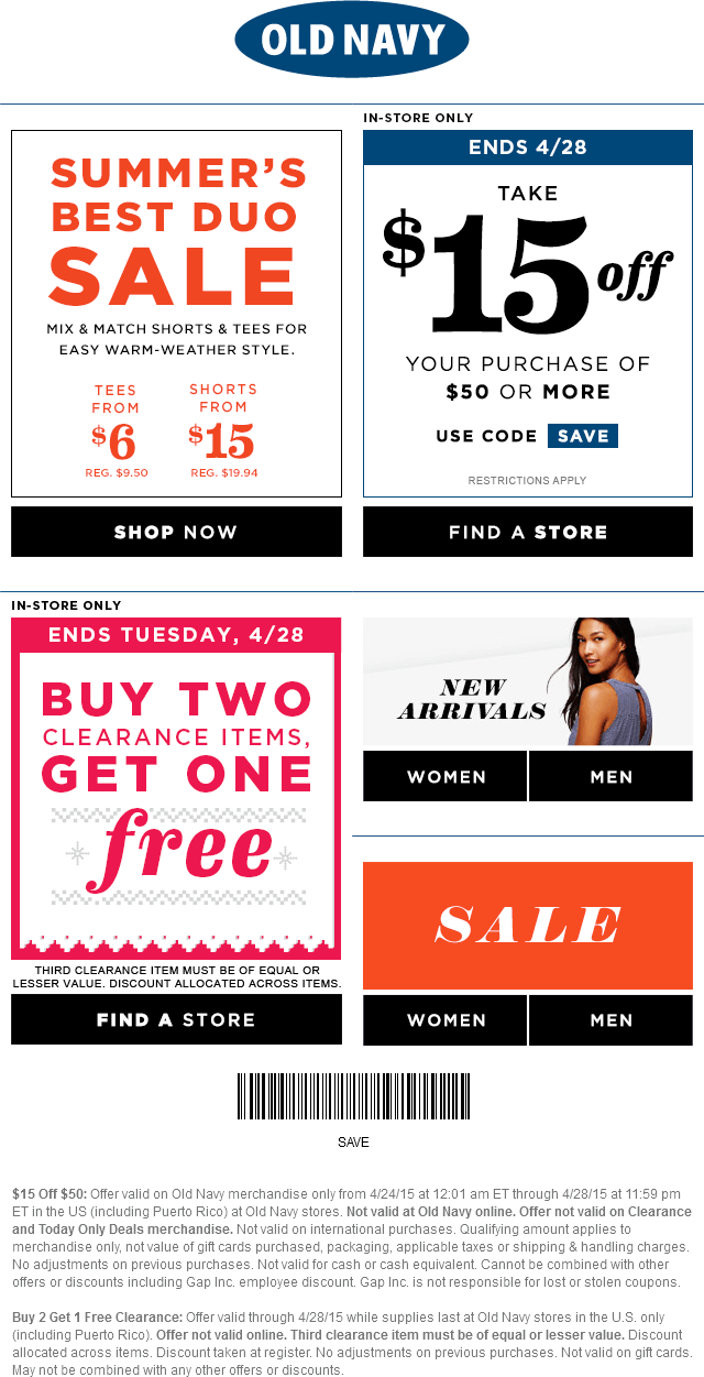 Old Navy Coupon August 2017 $15 off $50 at Old Navy - also 3-for-2 on clearance items
