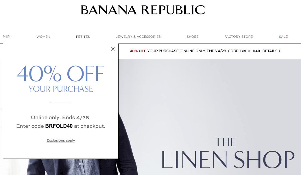 Banana Republic Coupon January 2018 40% off online today at Banana Republic via promo code BRFOLD40