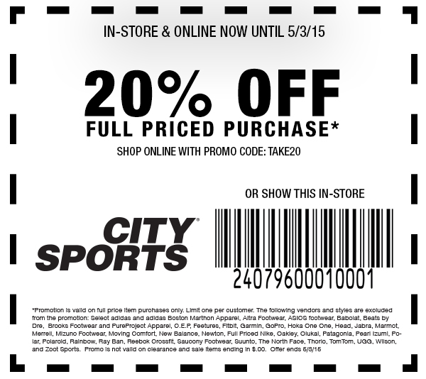 City Sports Coupon January 2017 20% off at City Sports, or online via promo code TAKE20