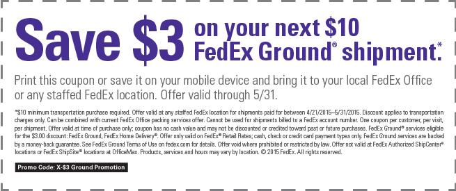 FedEx Coupon November 2018 $3 off $10 on ground shipping at FedEx