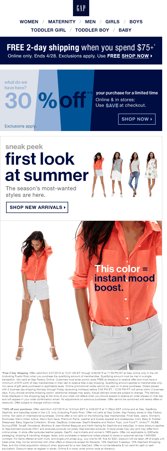 Gap Coupon May 2019 30% off today at Gap, or online via promo code SAVE