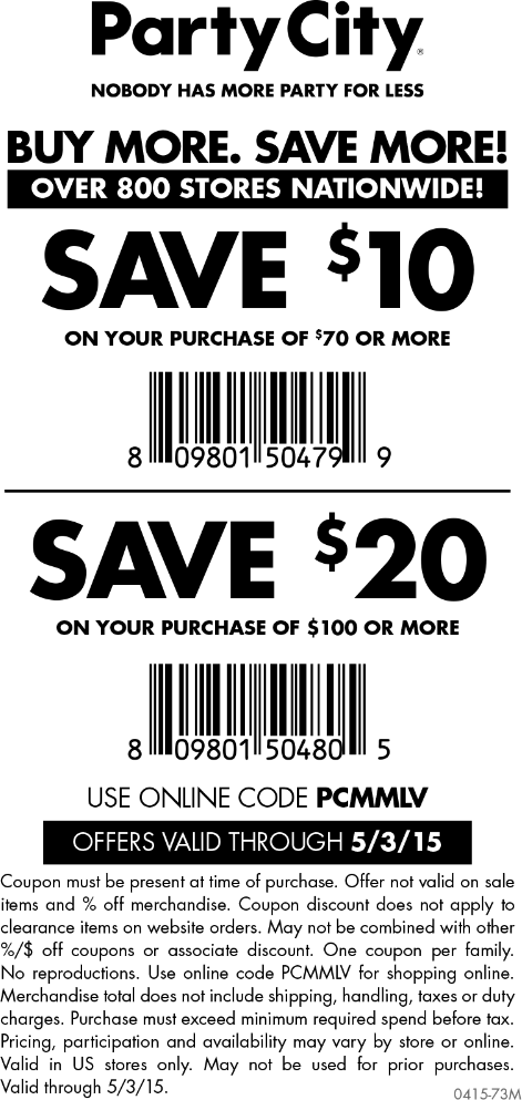 Party City Coupon February 2019 $10 off $70 & more at Party City, or online via promo code PCMMLV