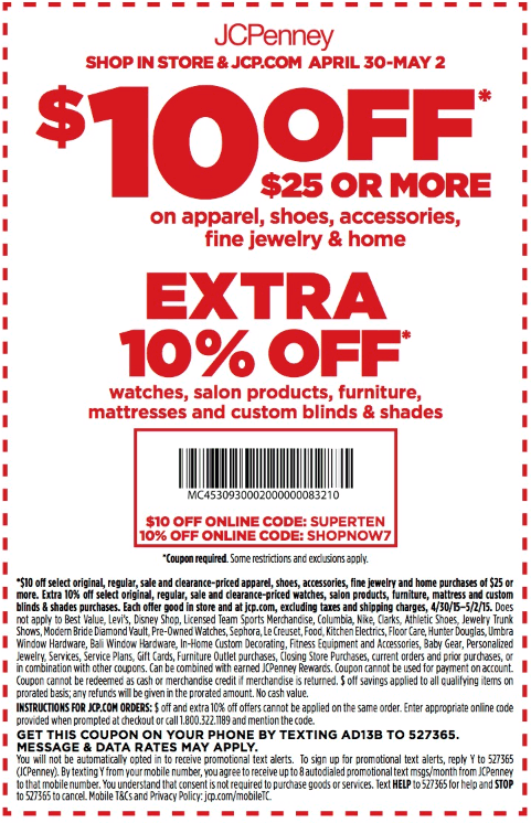 JCPenney Coupon September 2017 $10 off $25 at JCPenney, or online via promo code SUPERTEN