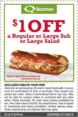 Quiznos Coupon June 2017 $1 off a sub or salad at Quiznos