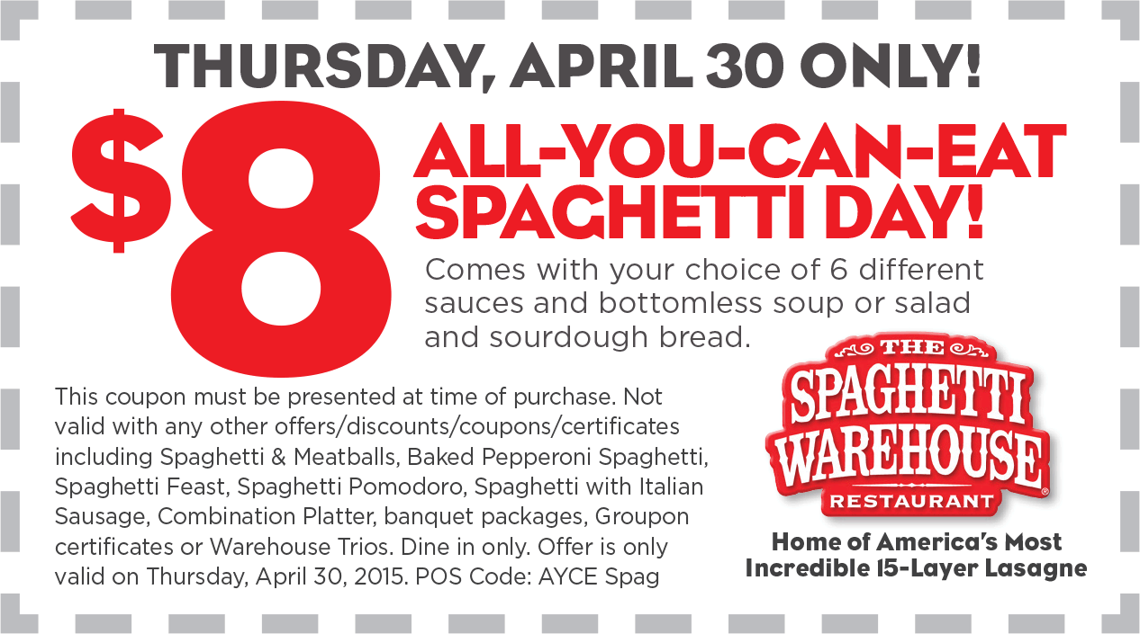 Spaghetti Warehouse Coupon June 2018 $8 bottomless spaghetti Thursday at Spaghetti Warehouse restaurants