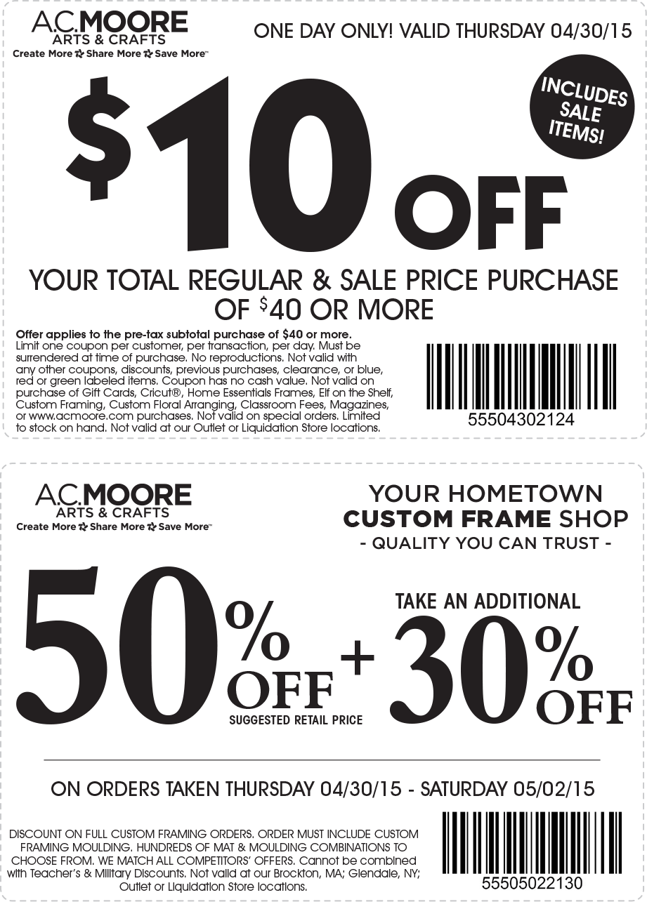 A.C. Moore Coupon June 2017 $10 off $40 today at A.C. Moore