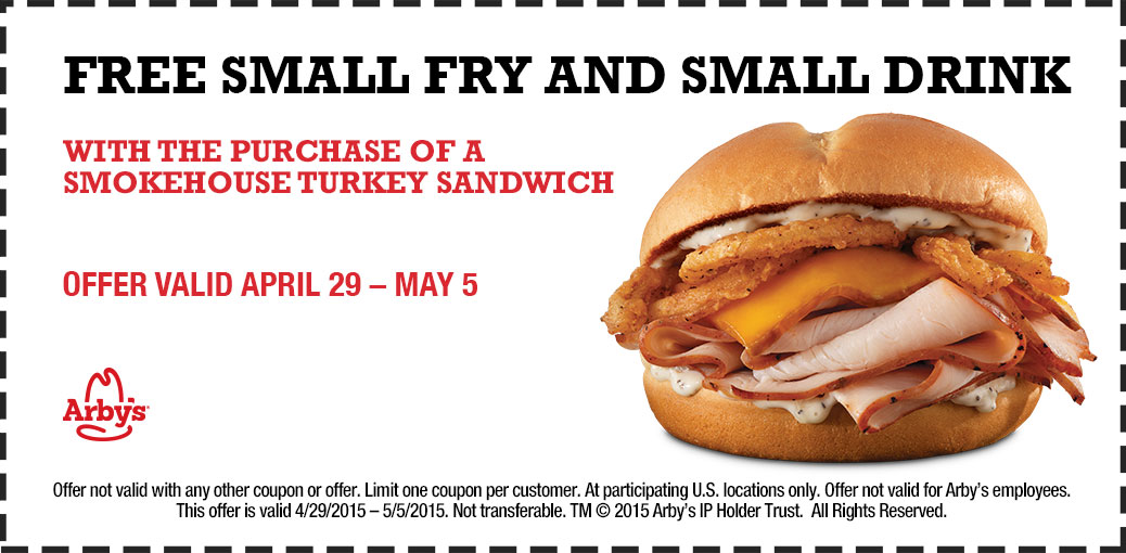 Arbys Coupon April 2017 Fries & drink free with your turkey sandwich at Arbys