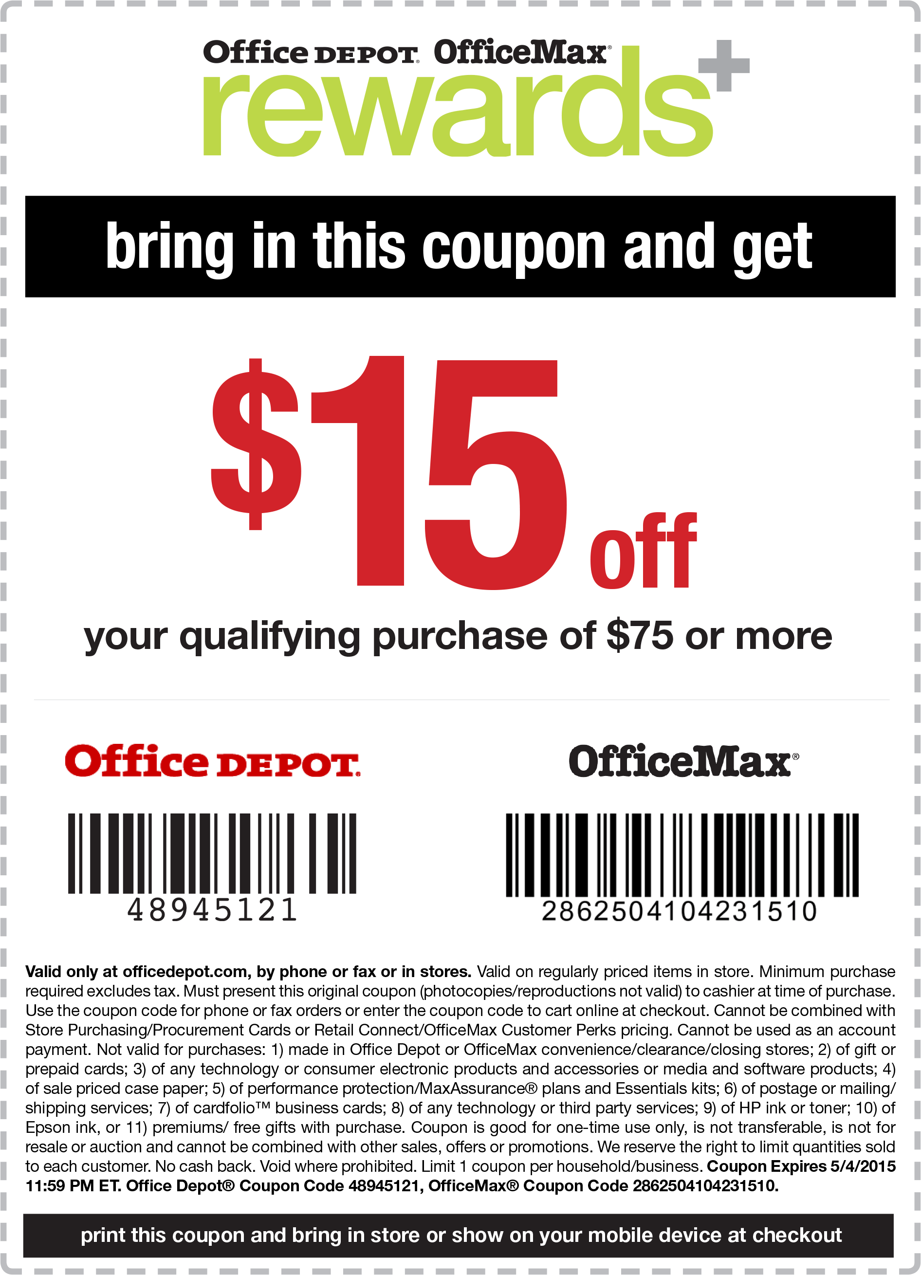 Office Depot Coupon December 2018 $15 off $75 at OfficeMax & Office Depot, or online via promo code 48945121