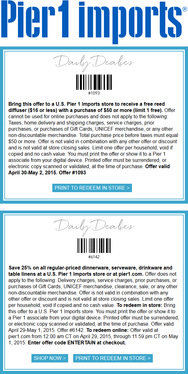 Pier 1 Coupon January 2018 $16 reed diffuser free with $50 spent & more at Pier 1 Imports