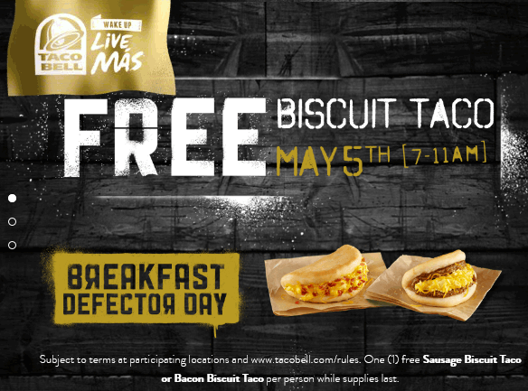 Taco Bell Coupon July 2018 Free biscuit taco Tuesday morning at Taco Bell