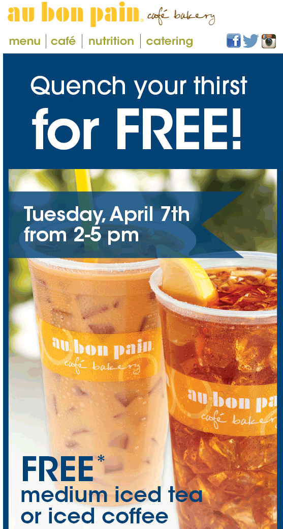 Au Bon Pain Coupon October 2016 Free iced coffee or tea Tuesday at Au Bon Pain bakery cafe
