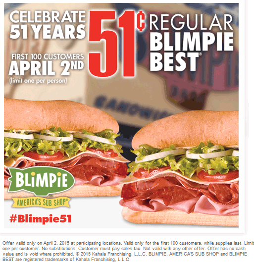 Blimpie Coupon October 2018 First 100 each location enjoy 51 cent subs Thursday at Blimpie