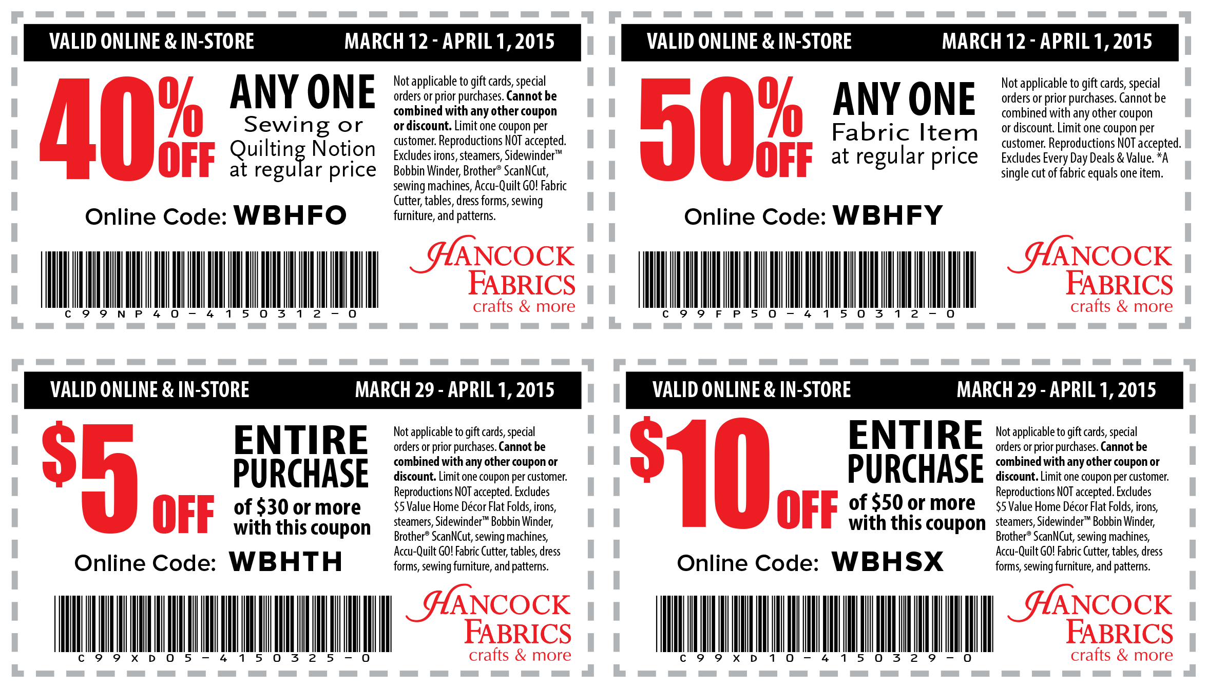 Hancock Fabrics Coupon May 2018 $5 off $30, 50% off a single fabric item & more today at Hancock Fabrics, or online via promo code WBHFY