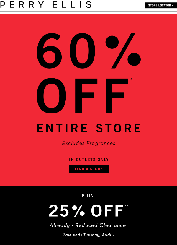 Perry Ellis Outlet Coupon November 2018 Extra 60% off the store at Perry Ellis Outlet locations, 25% off clearance
