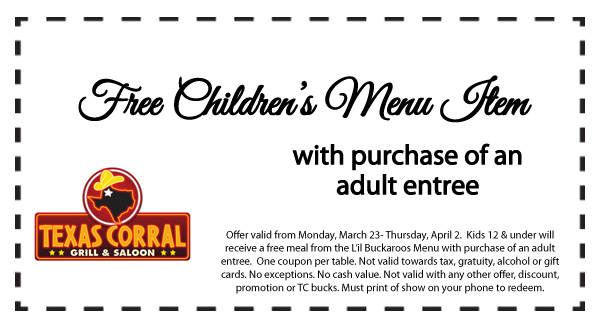 Texas Corral Coupon February 2019 Free kids meal with yours at Texas Corral grill & saloon