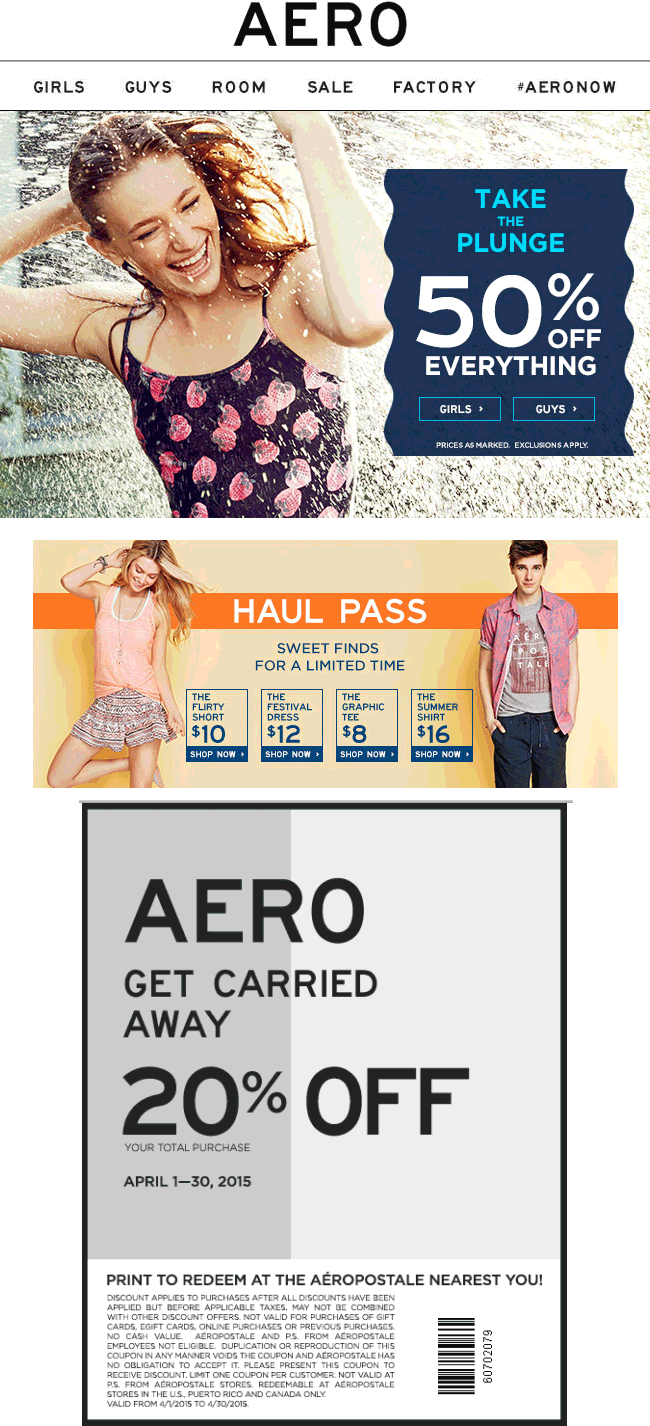Aeropostale Coupon January 2018 50% off everything & more at Aeropostale