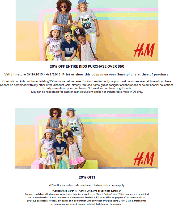 H&M Coupon January 2018 20% off $50 on kids gear at H&M