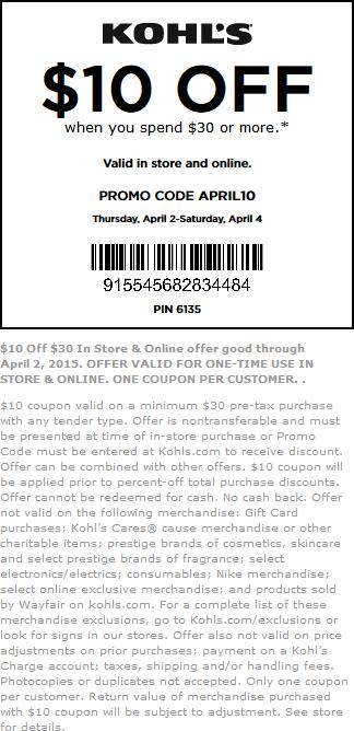 Kohls Coupon January 2019 $10 off $30 at Kohls, or online via promo code APRIL10