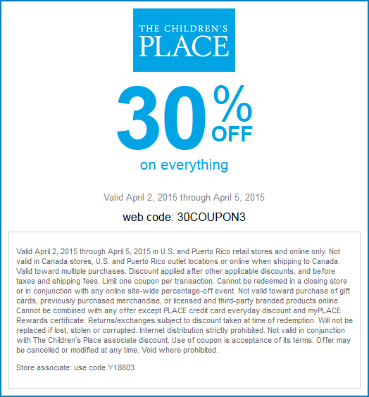 Childrens Place Coupon March 2017 30% off everything at The Childrens Place, or online via promo code 30COUPON3