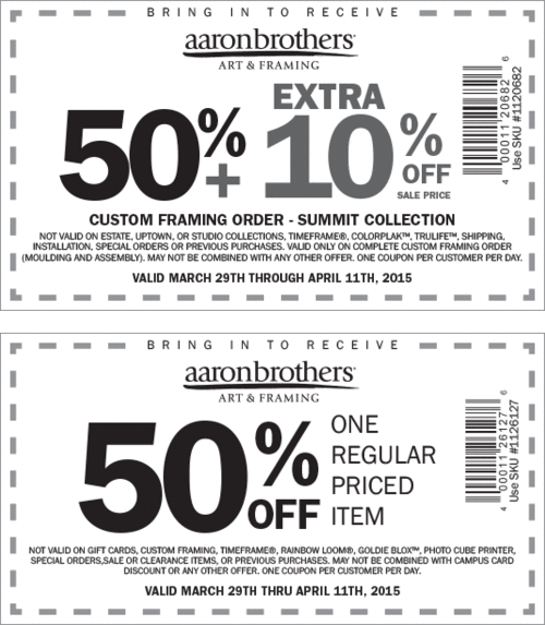 Aaron Brothers Coupon May 2018 50% off a single item at Aaron Brothers art & framing