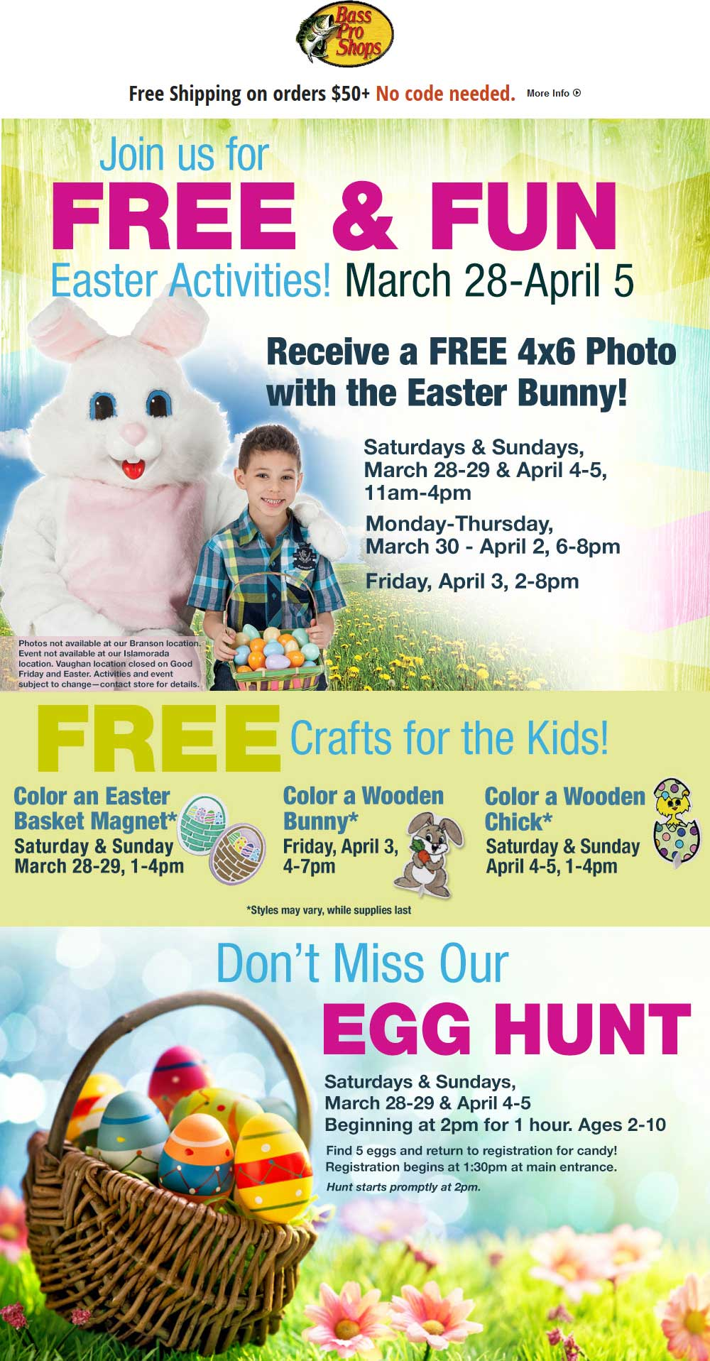 Bass Pro Shops Coupon April 2017 Free photo with Easter bunny, crafts & egg hunt at Bass Pro Shops