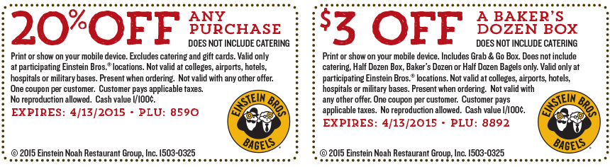 Einstein Bros Bagels Coupon January 2018 20% off at Einstein Bros Bagels