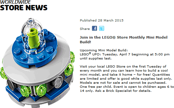 LEGO Coupon January 2017 Free UFO build 5pm Tuesday at LEGO Store