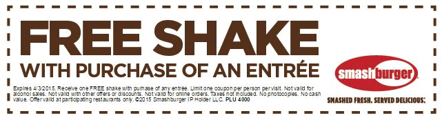 Smashburger Coupon February 2019 Free shake with your entree today at Smashburger
