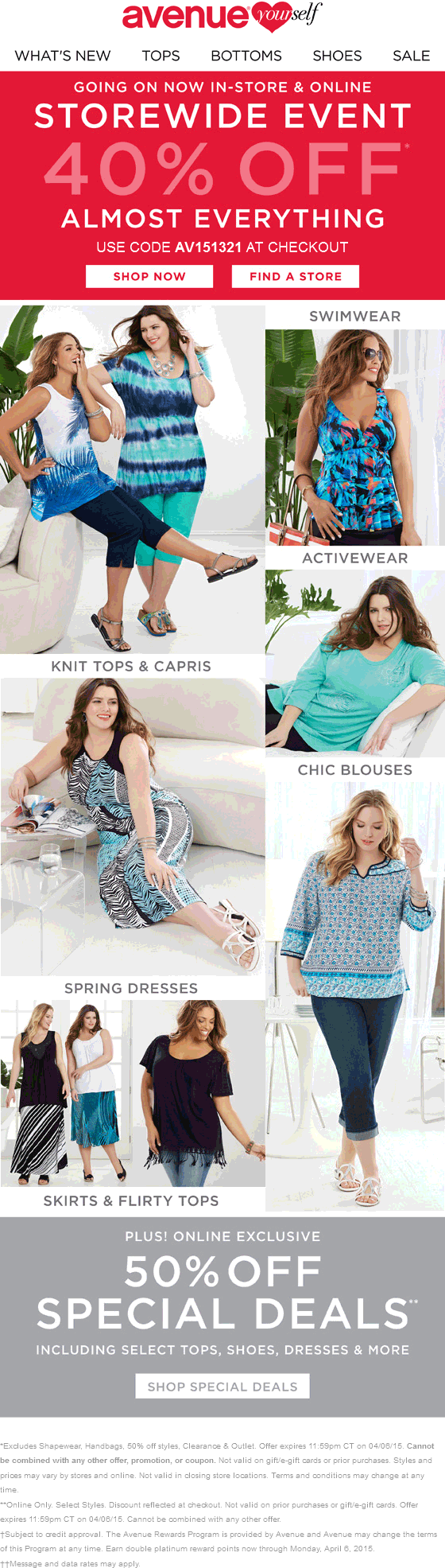 Avenue Coupon May 2018 40% off at Avenue, or online via promo code AV151321