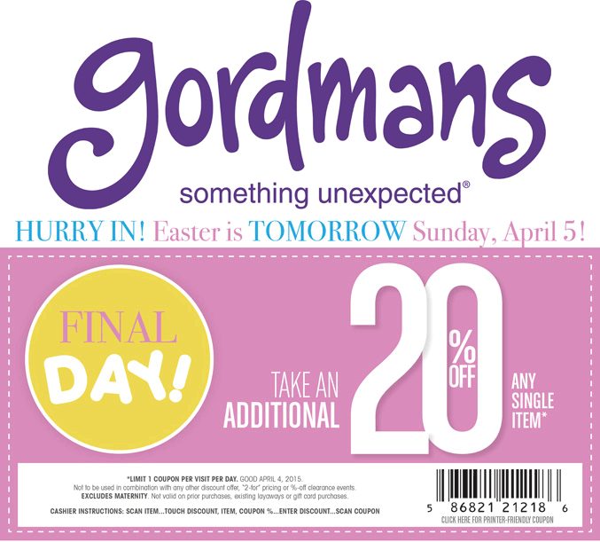 Gordmans Coupon September 2017 20% off a single item at Gordmans