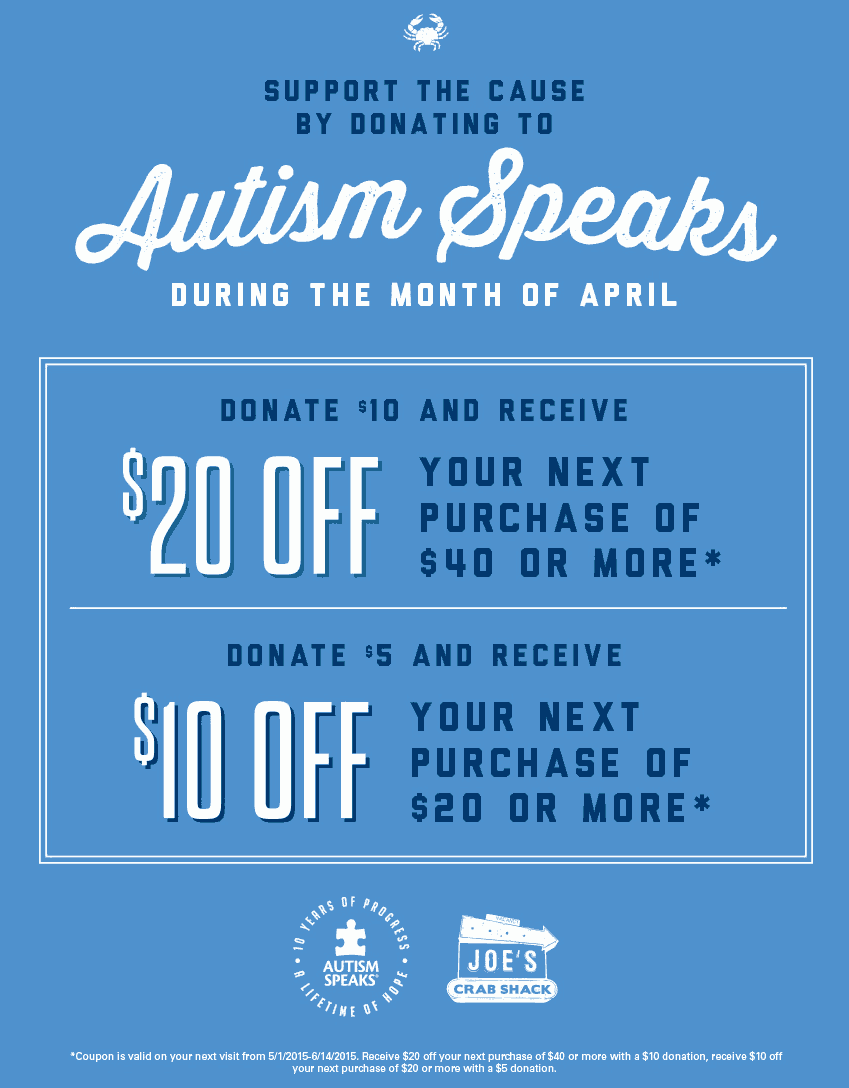 Joes Crab Shack Coupon February 2017 Donate a few bucks for Autism & knock $10-$20 off the tab all month at Joes Crab Shack